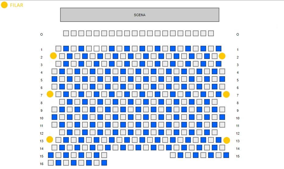 Obraz przedstawia plan widowni. Układ miejsc w szachownicę.