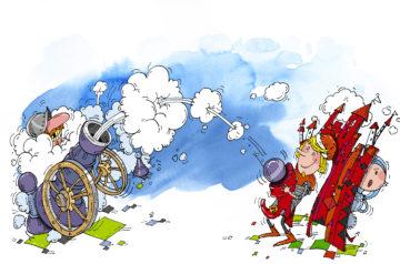 """Rysunkowa armata wystrzela obłoki dymu. w stronę Przemka, bohatera spektaklu """"Chłopiec z Gliwic"""". Za Przemkiem mury miasta, za którymi chowa się wystraszona Jadwiga."""