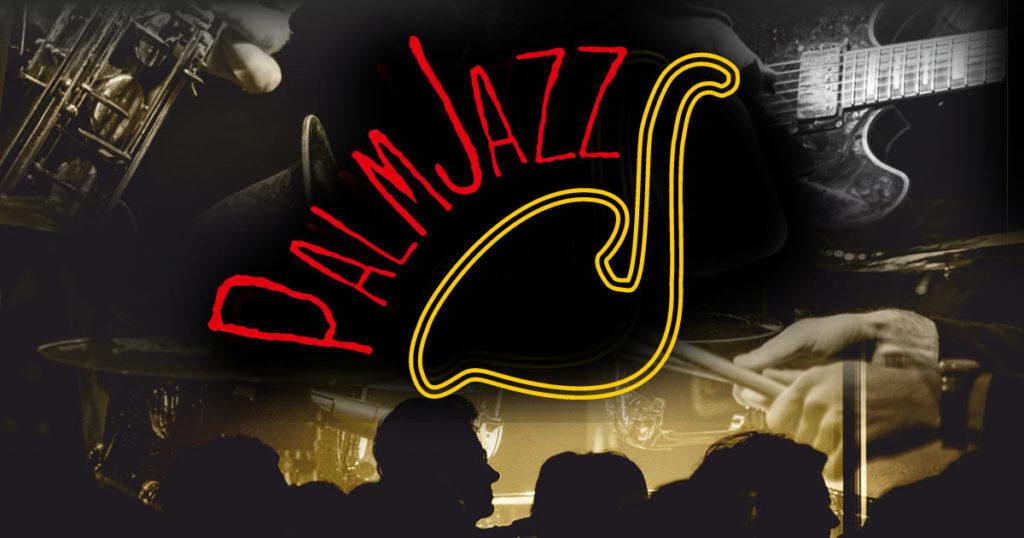 Logo festiwalu Palm Jazz. Klikając w logo przechodzisz do strony internetowej palmjazz.pl